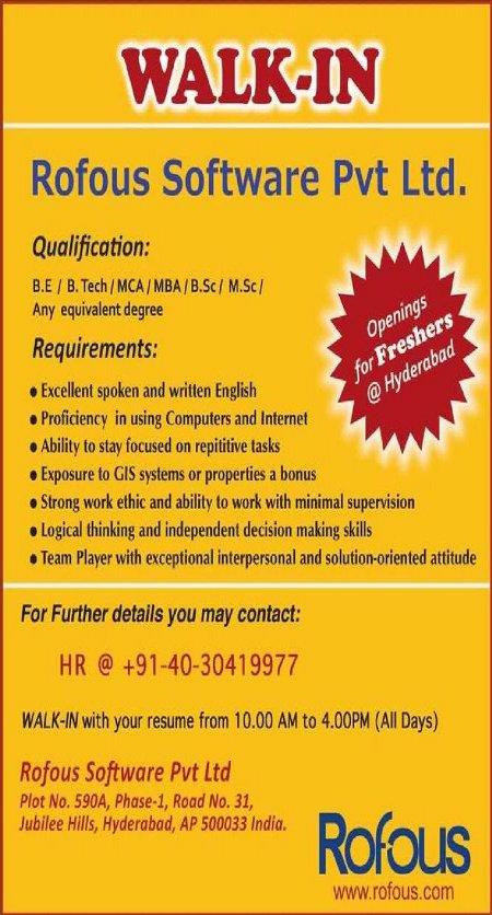Rofous Openings in Hyderabad