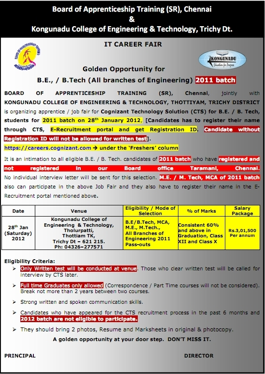 CTS Freshers Recruitment 2012