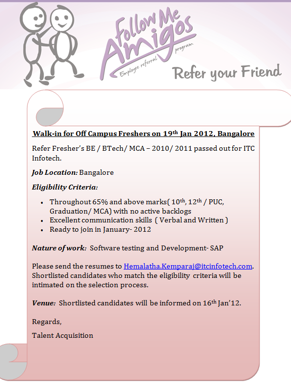 ITC Infotech Recruitment  2012 Notification