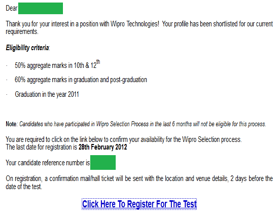 Wipro Off Campus confirmation Form