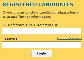 TCS Freshers Registration Login Form