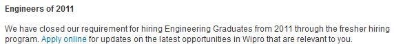 Wipro Closed Freshers Recruitment 2011