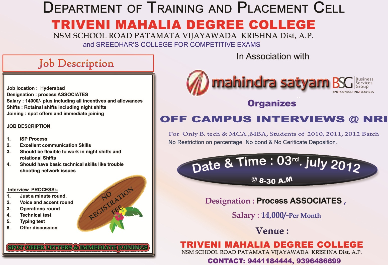 Mahindra Satyam Off Campus for Freshers