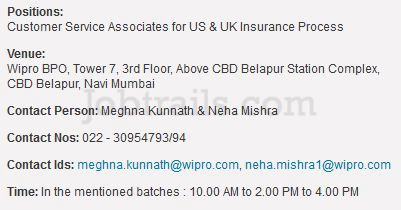 Wipro BPO Walkins Belapur