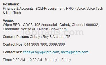 Wipro BPO Walkins Chennai