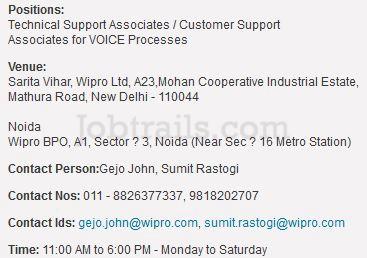 Wipro BPO Walkins Delhi