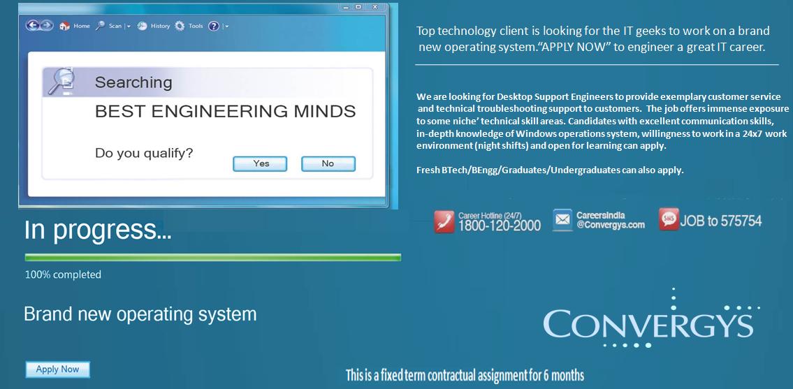 Convergys Desktop Support Engineer Recruitment Advertisement
