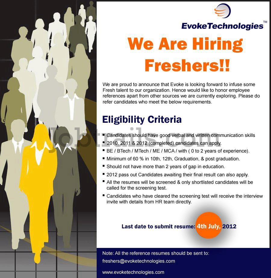 Evoke Technologies Freshers Recruitment 2012