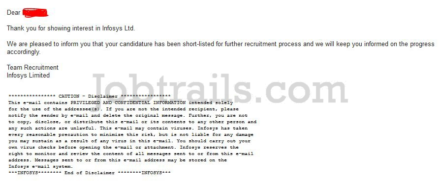 Infosys Shortlisting Email 2012 Passed Outs