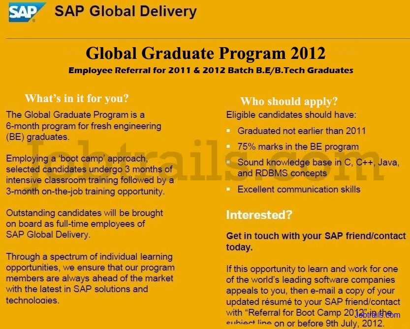 SAP Freshers Recruitment 2012 Employee Referral Program Advertisement