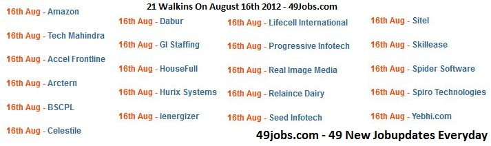 20+ Walkins on 16th August 2012